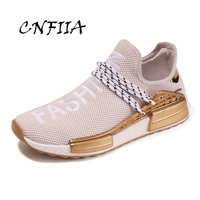 CNFIIA Unisex Shoes Men Couples Love Male Shoes Adult Breathable Light Footwear Black Golden Sneakers 2018 Autumn Walking New