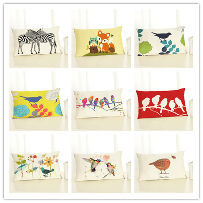 30x50 High Quality Creative Cartoon Funny Animal Print Home Decor Cushion Cover Cotton Linen Chair Cushion Cojines