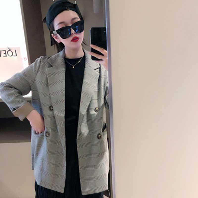 liva girl Double Breasted Office Ladies Plaid Blazer Long Sleeve Loose Houndstooth Suit Coat Jacket Women blazers Female 2019
