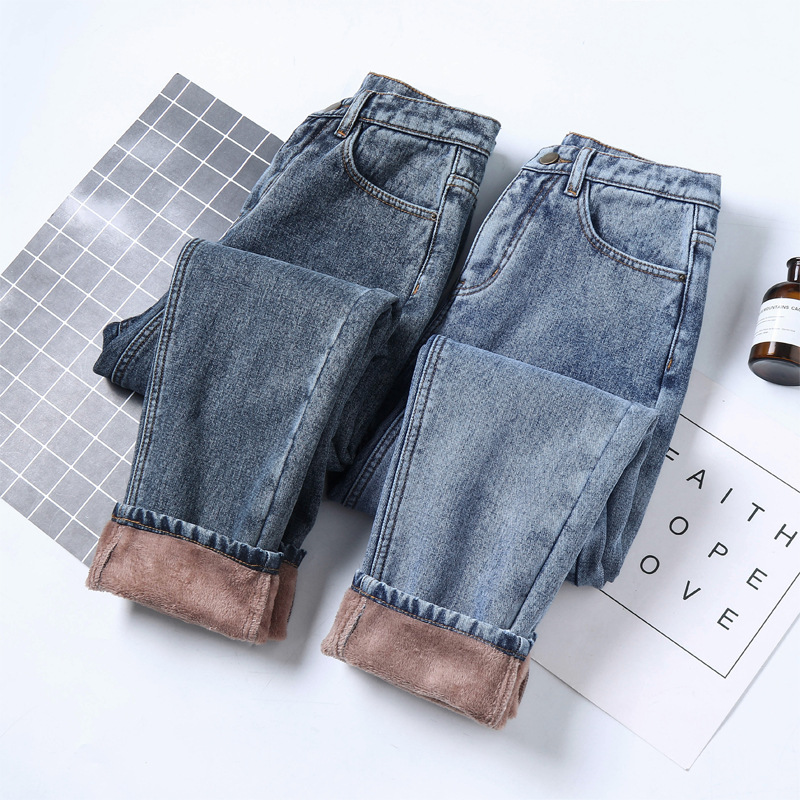 Women female warm   jeans   Korea casual washed middle waist straight pants 9VF