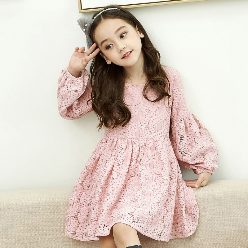 2017 Gorgeous Baby Girls Birthday Party Dress Lace Floral Deisgn Pink Elegant Frocks Cute Style for Age 5678910 11 12 Years Old