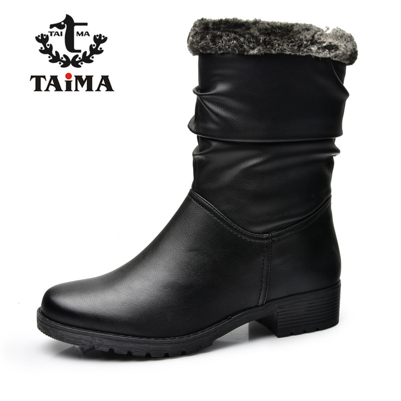 TAIMA Brand New Style Winter Women Boots Warm PU Leather Snow Boots Female Round Toe Mid