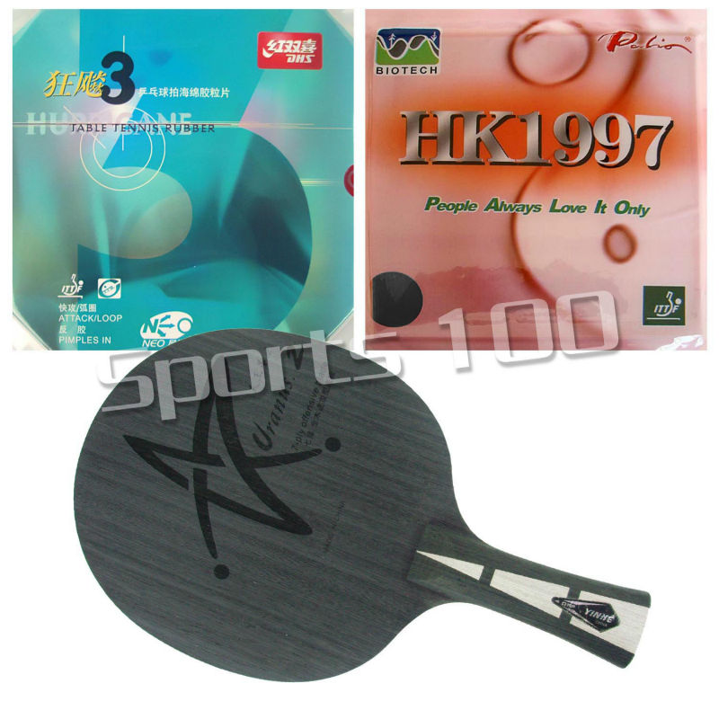 Pro Combo Racket YINHE Galaxy Uranus 2 Long Shakehand FL with Palio HK1997 Biotech and DHS