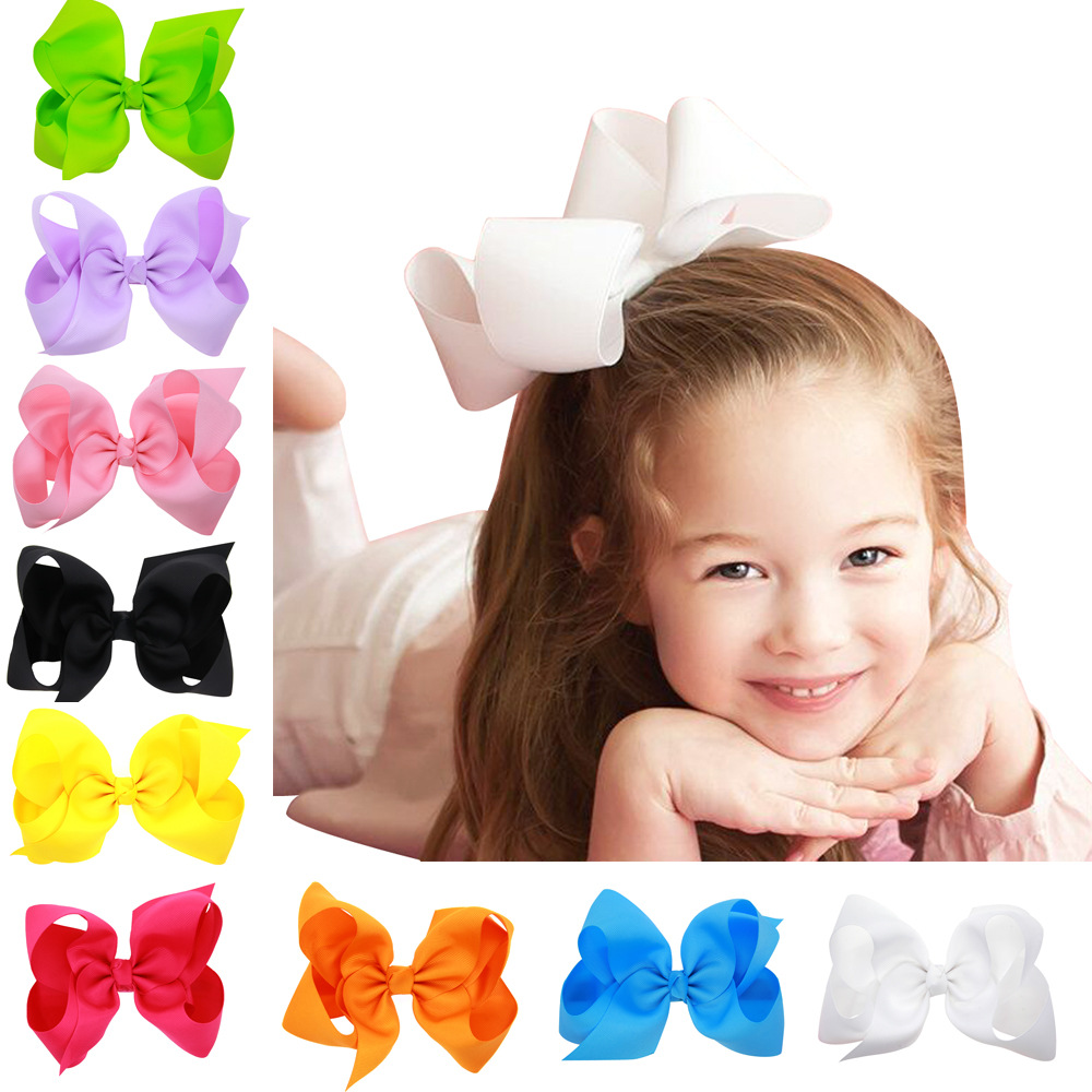 6 Inch Solid Hair Bow With Clip For Girls