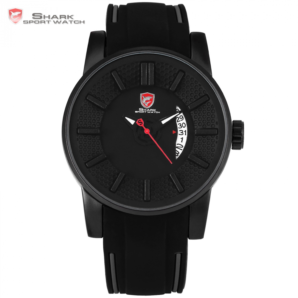Grey Reef Shark Sport Watch Black 3D Special Designer Top Brand Luxury Date Silicone Band Waterproof Quartz Men Box Watch /SH477 goblin shark sport watch 3d logo dual movement waterproof full black analog silicone strap fashion men casual wristwatch sh165
