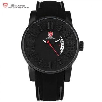 Reloj deportivo de tiburón de arrecife gris negro 3D de diseñador especial de alta marca de lujo Fecha de silicona banda de cuarzo resistente al agua reloj de caja para hombres/SH477