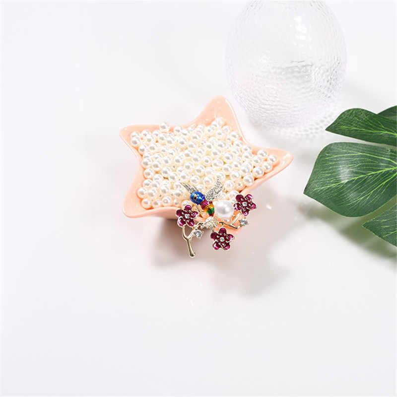 XQ Fashion Tanaman Bunga Cabang Burung DROP Glaze Pin Merah Hummingbird Bros Mutiara Imitasi Perhiasan Aksesoris Baru