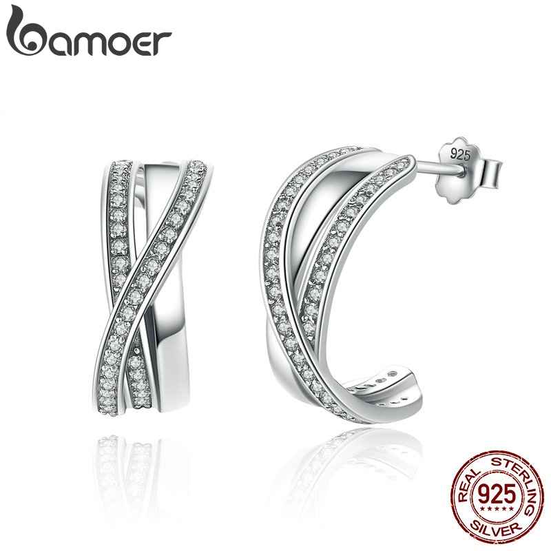 BAMOER Genuine 100% 925 Sterling Silver Entwined with Clear CZ Stud Earrings for Women 925 Silver Special Store PAS493BAMOER Genuine 100% 925 Sterling Silver Entwined with Clear CZ Stud Earrings for Women 925 Silver Special Store PAS493