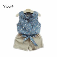 YWSTT Girls Summer Set Clothes Baby Suits Kids T Shirt +Pants Children Clothing Set 2017 new Girl Clothes