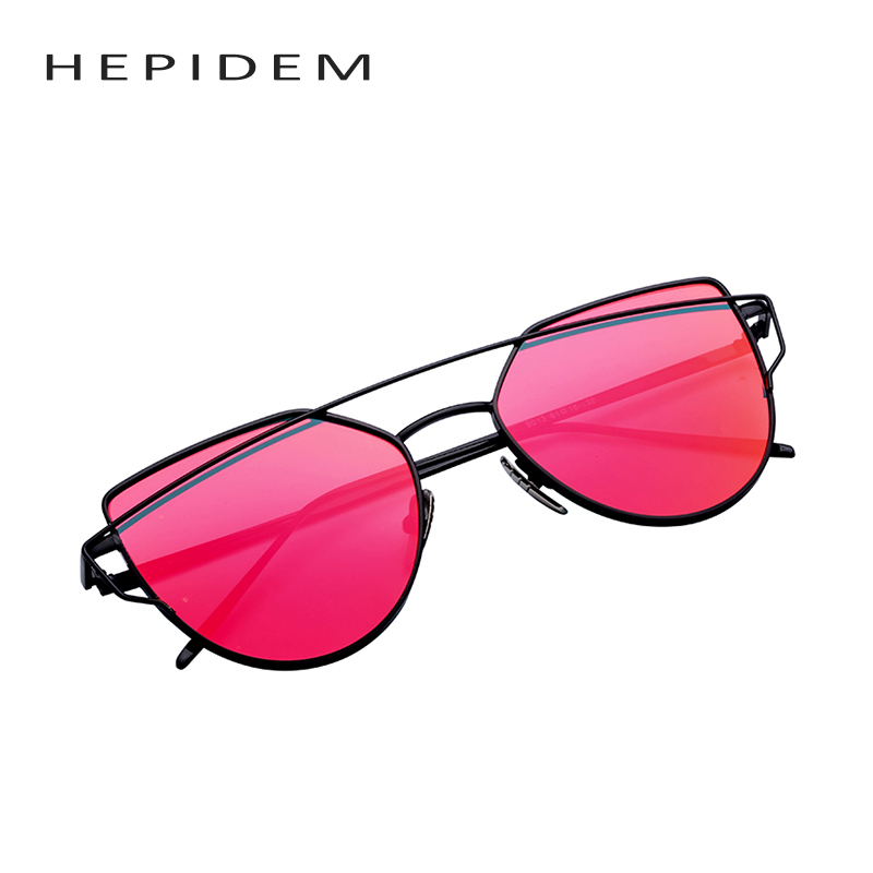 2016 new women 6 colour luxury cat eye sunglasses women sunglasses double deck alloy frame uv400