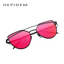 Hepidem double-deck colour sunglasses alloy cat frame sun glasses luxury eye