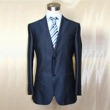 VA 2017 navy blue with fainted pattern wool silk man s business wedding suit custom tailor