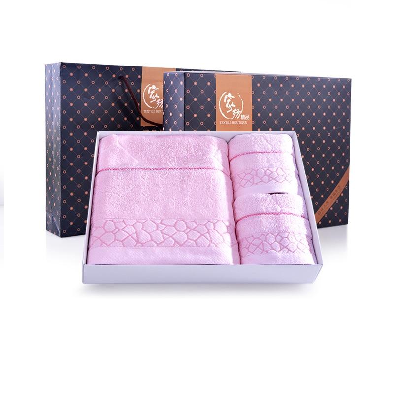 decorative luxury bath towel sets egyptian cotton 3 pieces toalha de banho towels bathroom toallas women towel gift box qqc086 - Decorative Towels