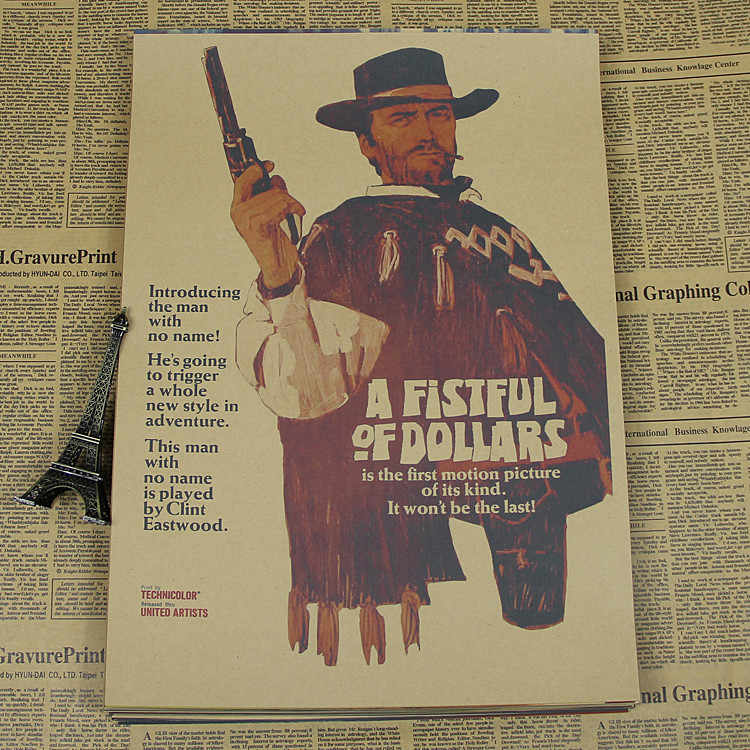 The trilogy of a fistful of dollars for a few dollars more gold three dollars classic western movie poster retro kraft paper