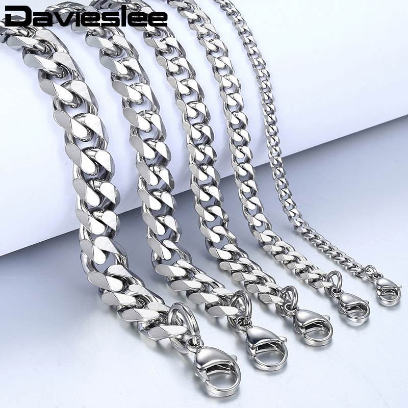 Bracelet for Men Women Curb Cuban Link Chain Stainless Steel Mens Womens Bracelets Chains Davieslee Jewelry for Men DLKBM05 HTB1IpzMay6guuRjy0Fmq6y0DXXa7