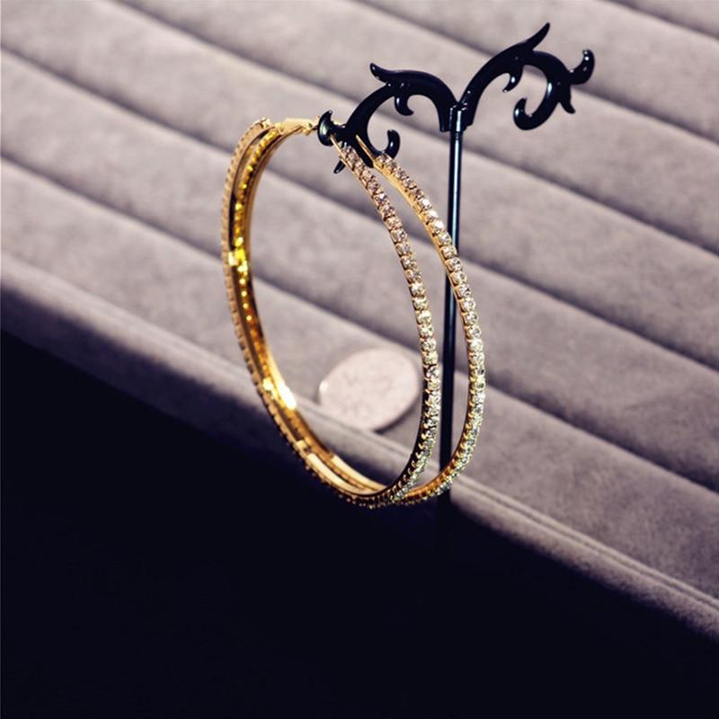MFNFYH Luxury Crystal Stone Big Large Hoop Earrings Circle Statement  Jewelry Rhinestone Earrings For Women Wedding Brincos 2018USD 4.91-7.37 pair e5b9b94456a6