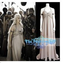 Game of Thrones Daenerys Targaryen Cosplay Costume Sexy Halter Collo Alto  Argenteo Lungo Chiffon Vestito di 6f3adc83fc4