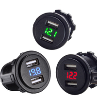 4 2A Dual Port USB Charger With Voltmeter 12 24V BLUE RED GREEN LED Digital Display
