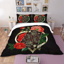 Wongs bedding Poker King Rose Bedding set 3D Print Duvet Cover Pillowcases Twin Full Queen King Size bed linen dropshipping(China)