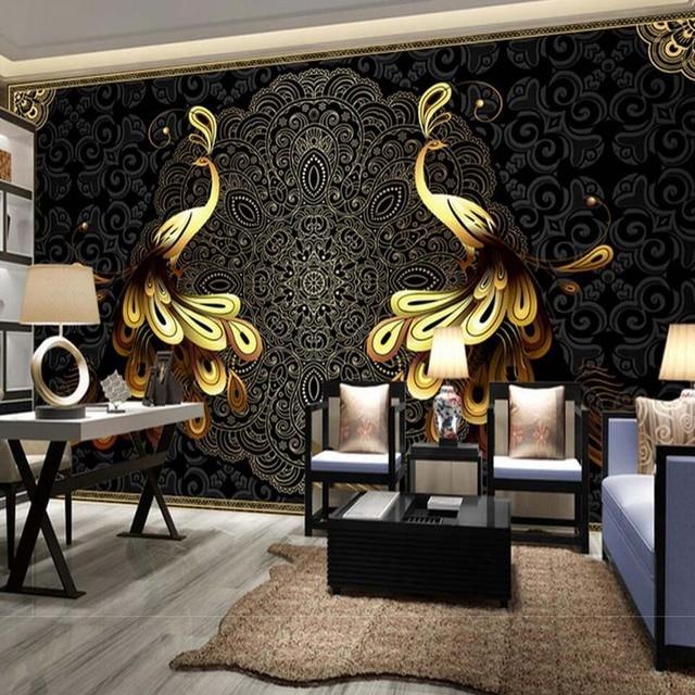 Schwarz Pfau Wandbild Tapete Große Größe Murales De Pared Paisaje  Wohnzimmer Schlafzimmer Wand Decor Custom Größe