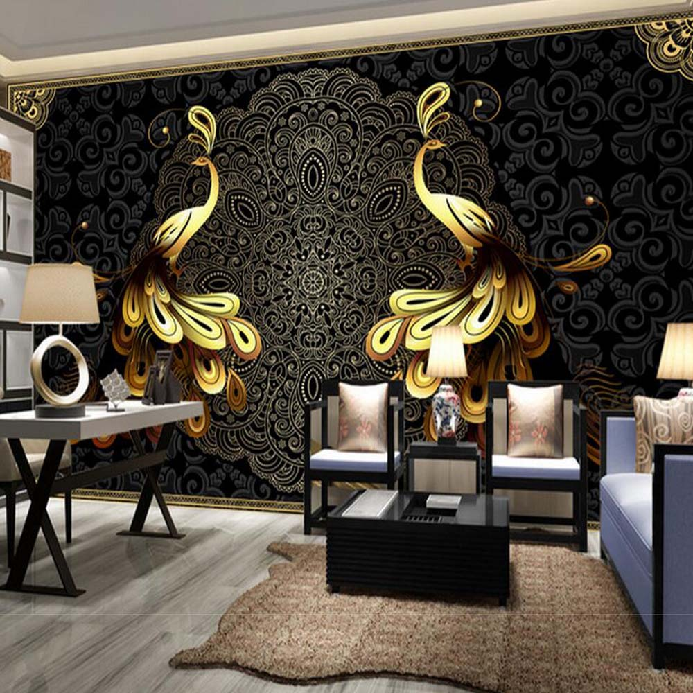 black peacock wall mural wallpaper large size murales de pared paisaje living room bedroom wall decor custom size wallcoverings large painting home decor relief green flowers hotel background modern mural for living room murales de pared 3d wallpaper