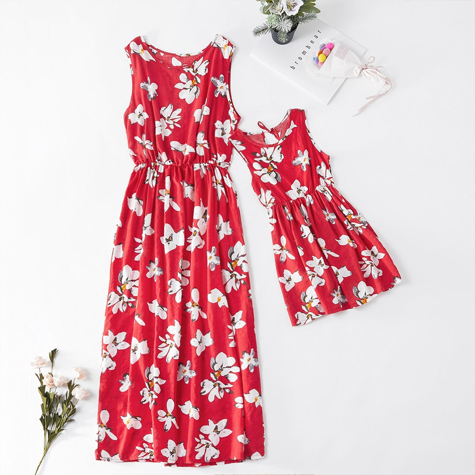 Mother Daughter Dresses Cotton Floral Long Dress Mother And Daughter Clothes Mom And Daughter Dress Family Matching Clothes