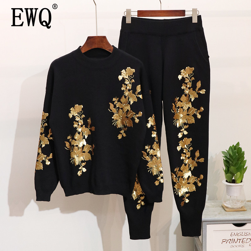 EWQ 2019 Spring New Women Round Collar Long Sleeve Elastic Embroidery Leaves Sweater And Casual