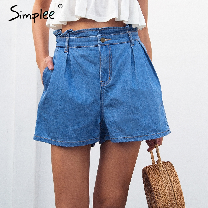 Simplee Summer Casual Ruffle Blue Denim Shorts Women Button Pocket High Waist Shorts Chic Beach Jeans Shorts Streetwear 2018