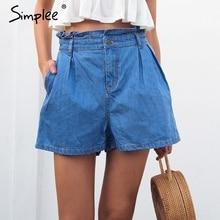 Simplee Summer casual ruffle niebieskie spodnie jeansowe damskie kieszeń na guzik spodenki z wysokim stanem eleganckie spodenki dżinsowe plażowe streetwear 2018