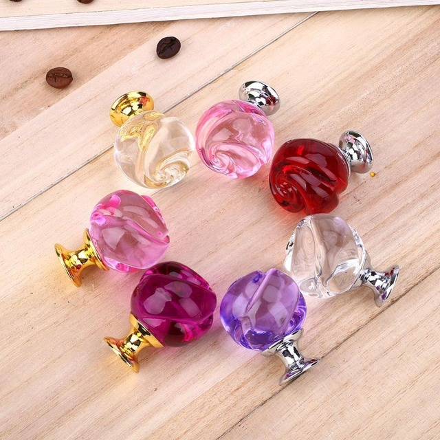 Crystal Rose Door Knobs Cupboard Home Cabinet Drawer Pull Handle ...