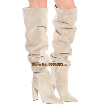 Women High Square Heel Suede knee-High Boots Pointed Toe Fashion Knee Boots Over The Knee