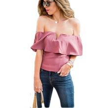 Summer women Fashion clothes Short Sleeve v-neck solid blouses casual ladies off shoulder ruffles slim sexy shirts blouses tops