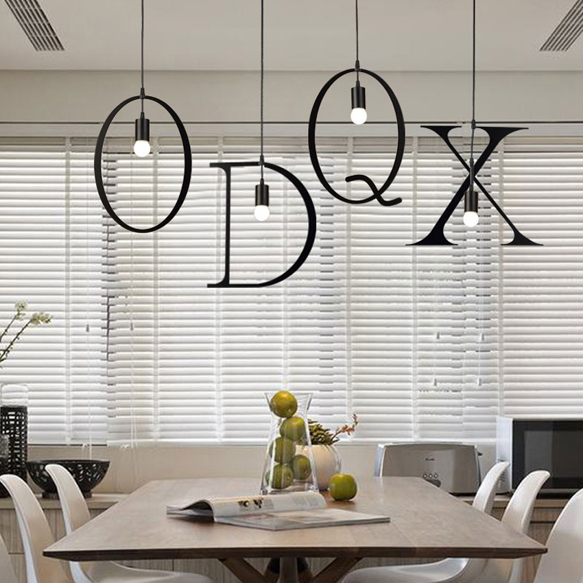 New 26 pcs letters DIY creative iron chandelier,industrial style restaurant bar colthing shop deco hanging pendant lamp fixture наклейки new style 100mmx1520mm diy