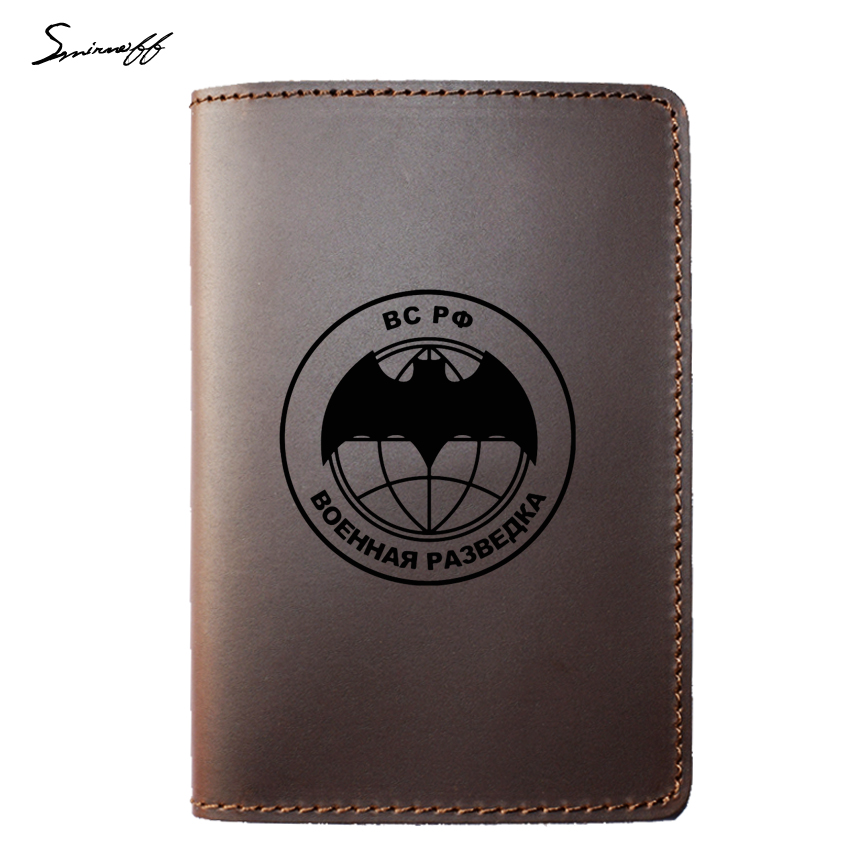 Leather Passport Cover Russian Federation Military Intelligence Passport Wallet Case Travel Accessories Passport Card Holder