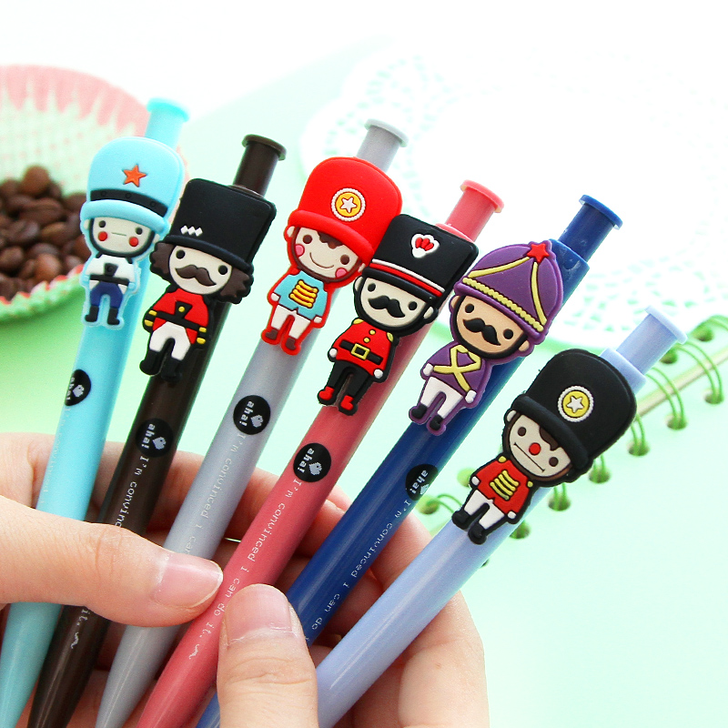 6X Cute Silicone Soldier Gel Pen Rollerball Pen Signing Pen Writing Tool School Office Supply Student Stationery