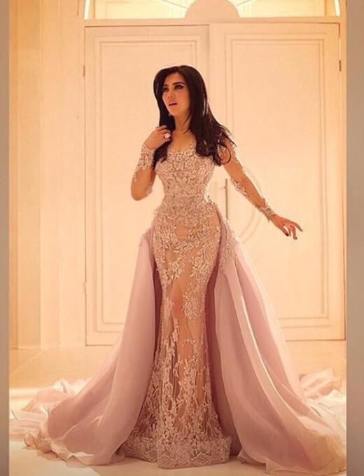 Ruched lace wedding dress detachable train mermaid wedding for Detachable train wedding dresses