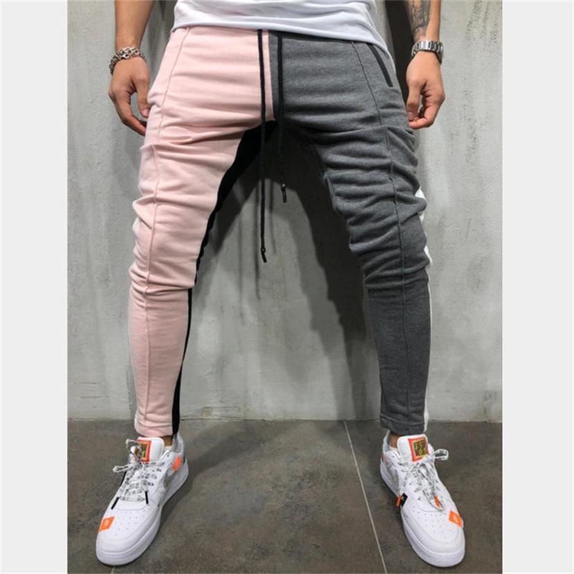 Men Slim Fit Sweatpants Drawstring Striped Track Pants Color Block Patchwork Jogging Pant Sports Hip Hop Trousers Long Slacks