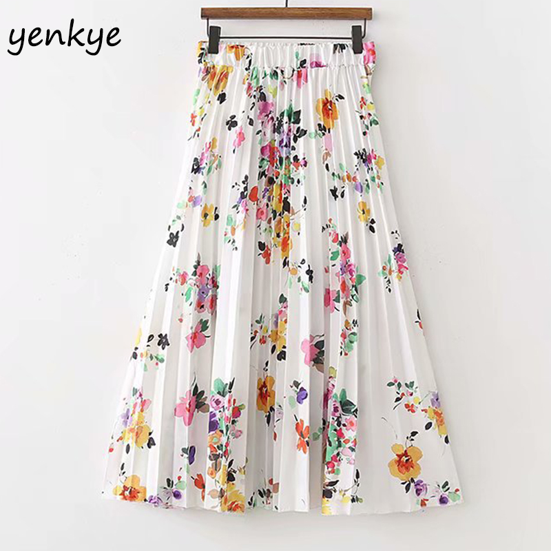 Boho 2018 Summer Skirts Womens Sweet Floral Printed Pleated Skirt Lady Elastic High Waist Midi Skirt XDWM1288
