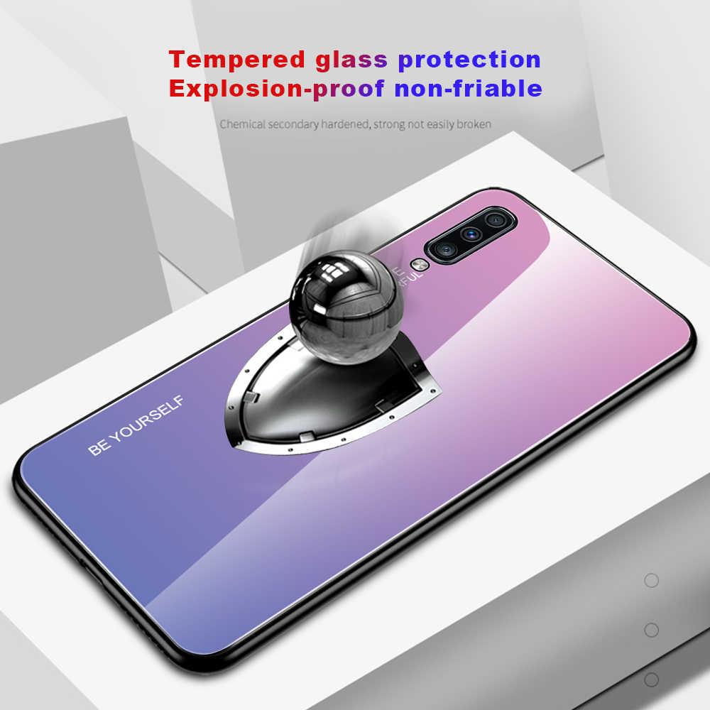 Degrade durumda Samsung Galaxy A70 A50 A30 A10 A20 A40 A60 A 50 60 70 30 S Slim Fit parlak temperli cam silikon sert kapak
