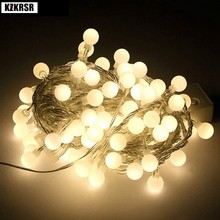 10M 20M 50M White ball Led Fairy lights Christmas Lights indoor/outdoor Garland Lights for Wedding Holiday decoration AC110V/220(China)