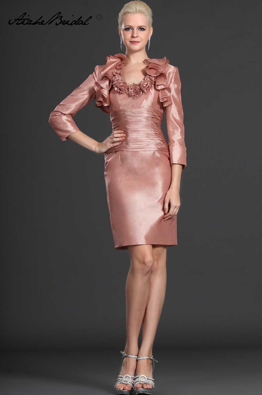 Vestido das Mulheres formais Curto Mãe Dos Vestidos de Noiva Elegantes Halter Tafetá Mãe do Vestido Da Noiva com Revestimento
