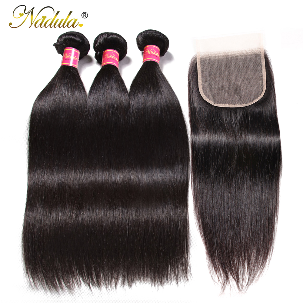 NADULA HAIR 5x5 Closure With Bundles Transparent Lace/Medium Brown Human Hair Bundles With Closure Straight Bundles With Closure
