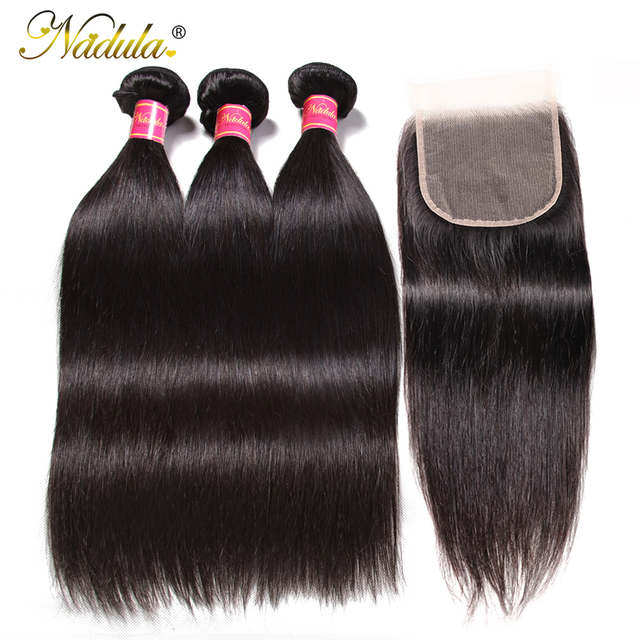 $ US $106.42 NADULA HAIR 5x5 Closure With Bundles Transparent Lace/Medium Brown Human Hair Bundles With Closure Straight Bundles With Closure
