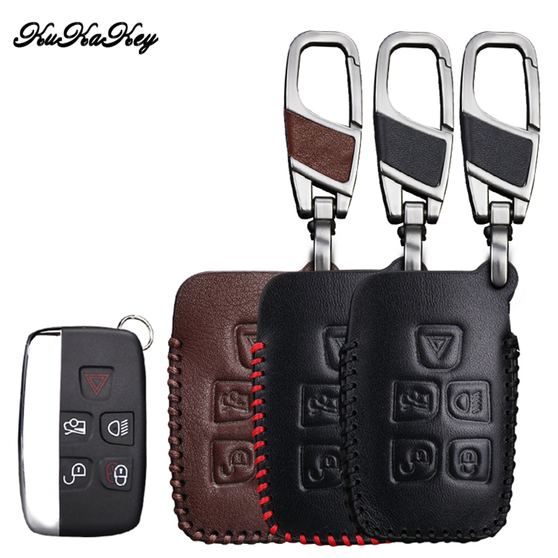KUKAKEY Genuine Leather Car Key Case For Land Rover Freelander Range Rover A8 A9 Discovery Defender Key Cover Holder Car Styling