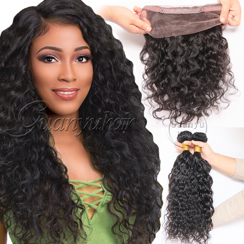 Guanyuhair 2 Bundles With 360 Lace Frontal Closure 100% Human Hair Weave Bundles Pre Plucked Natural Color Peruvian Loose Curly