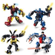 JX60002 Hero Alliance Mech Avenger Super Hero Irom Man Armor 4Pcs Minifigures Building Block Minifigure Toy kid toys for gifts