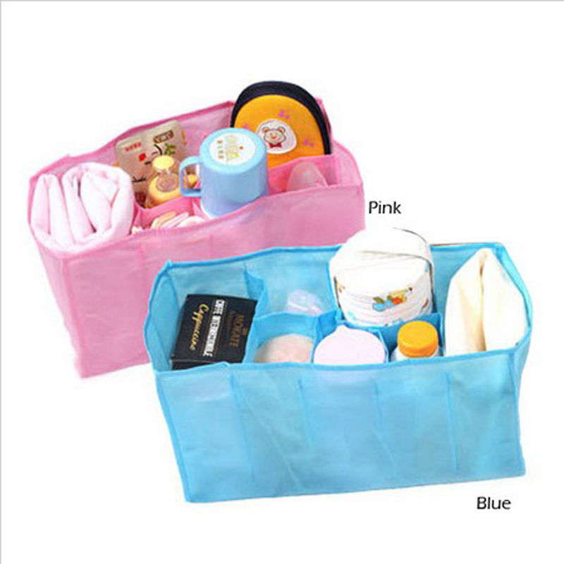 1 pcs Beautiful Baby Portable Diaper Nappy Water Bottle Changing Divider Storage Organizer Bag maquillaje organizador viaje