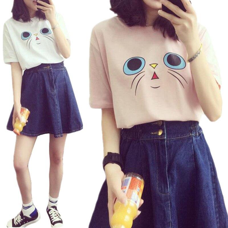 2017 New Summer Cute Cat Face Print Casual Loose Teen Girls Harajuku T-shirt Tee Top Cartoon Great Quality