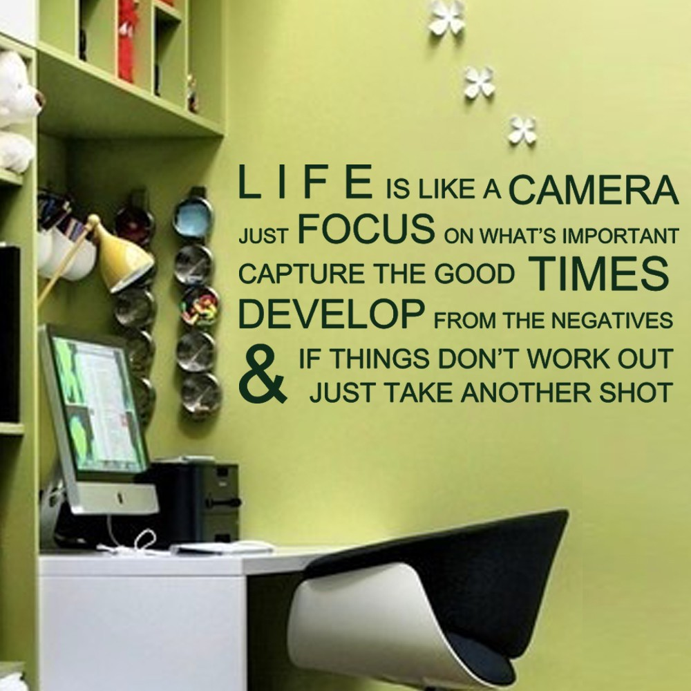 Life is Like a Camera Inspirational Wall Stickers Wall Decals Wall ...