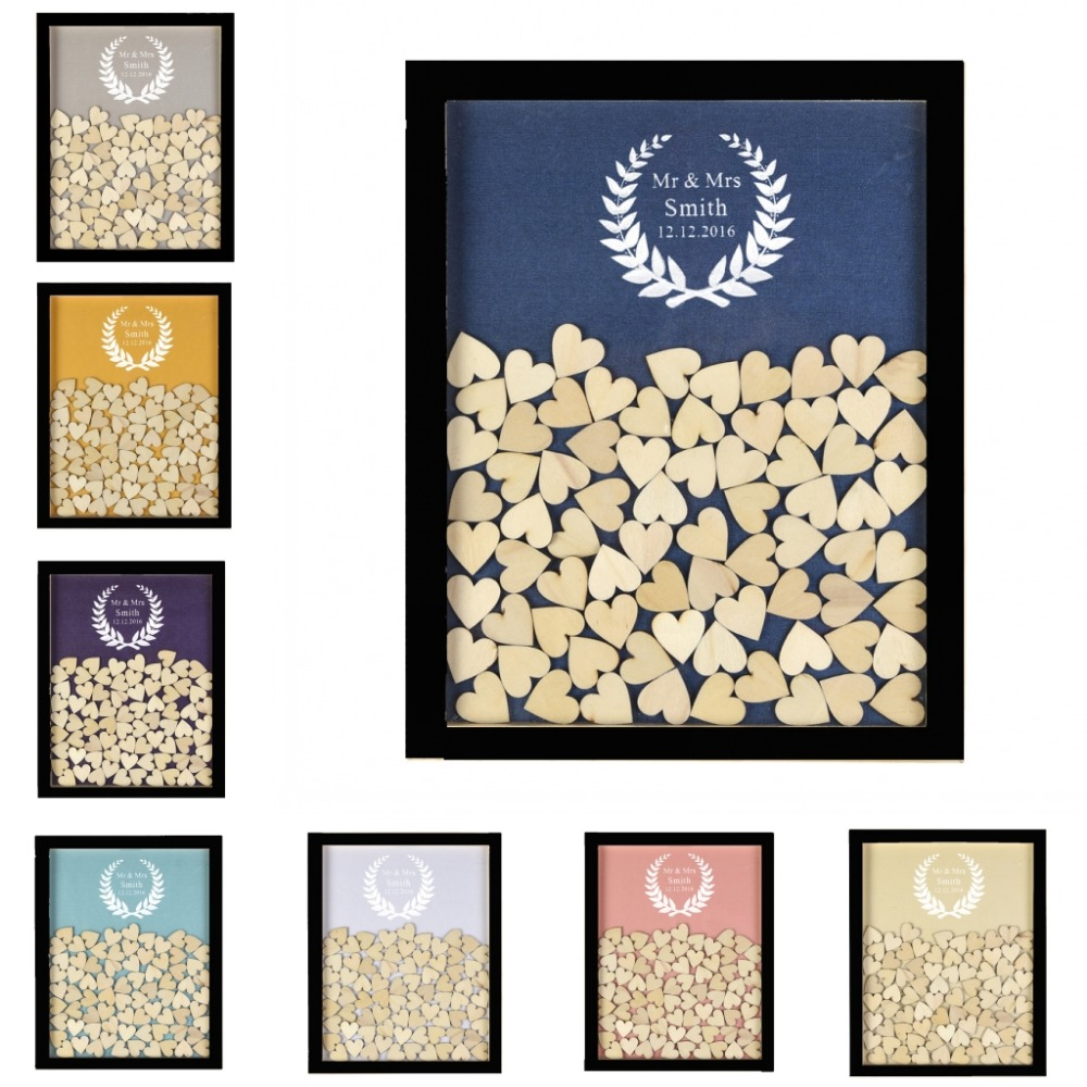 Přizpůsobené černé Rustikální dřevěné Drop Top rám Svatební Guest Kniha olivový list Alternativní unikátní 130ks srdce Decor